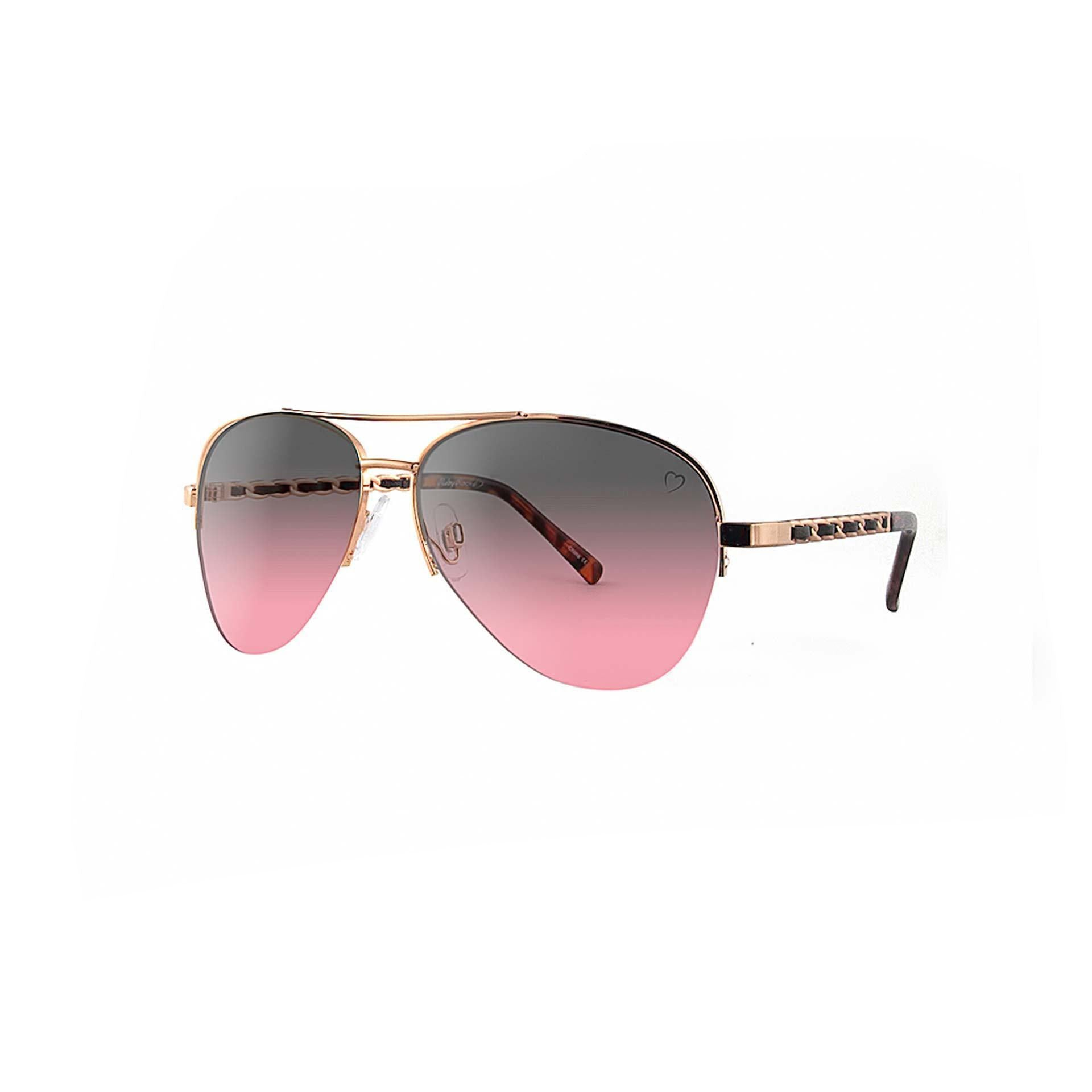 Ruby Rocks Metal New York Aviator With Fabric Braid Detail Temple in Rose Gold