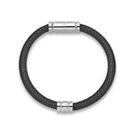 Load image into Gallery viewer, Black Leather Bracelet with Stainless Steel Clasp