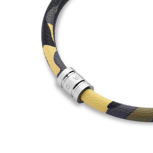 Camo Leather Bracelet with Stainless Steel Clasp