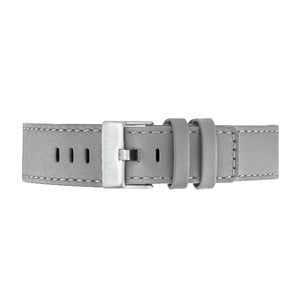 Grey Leather Strap Silver Buckle 22mm