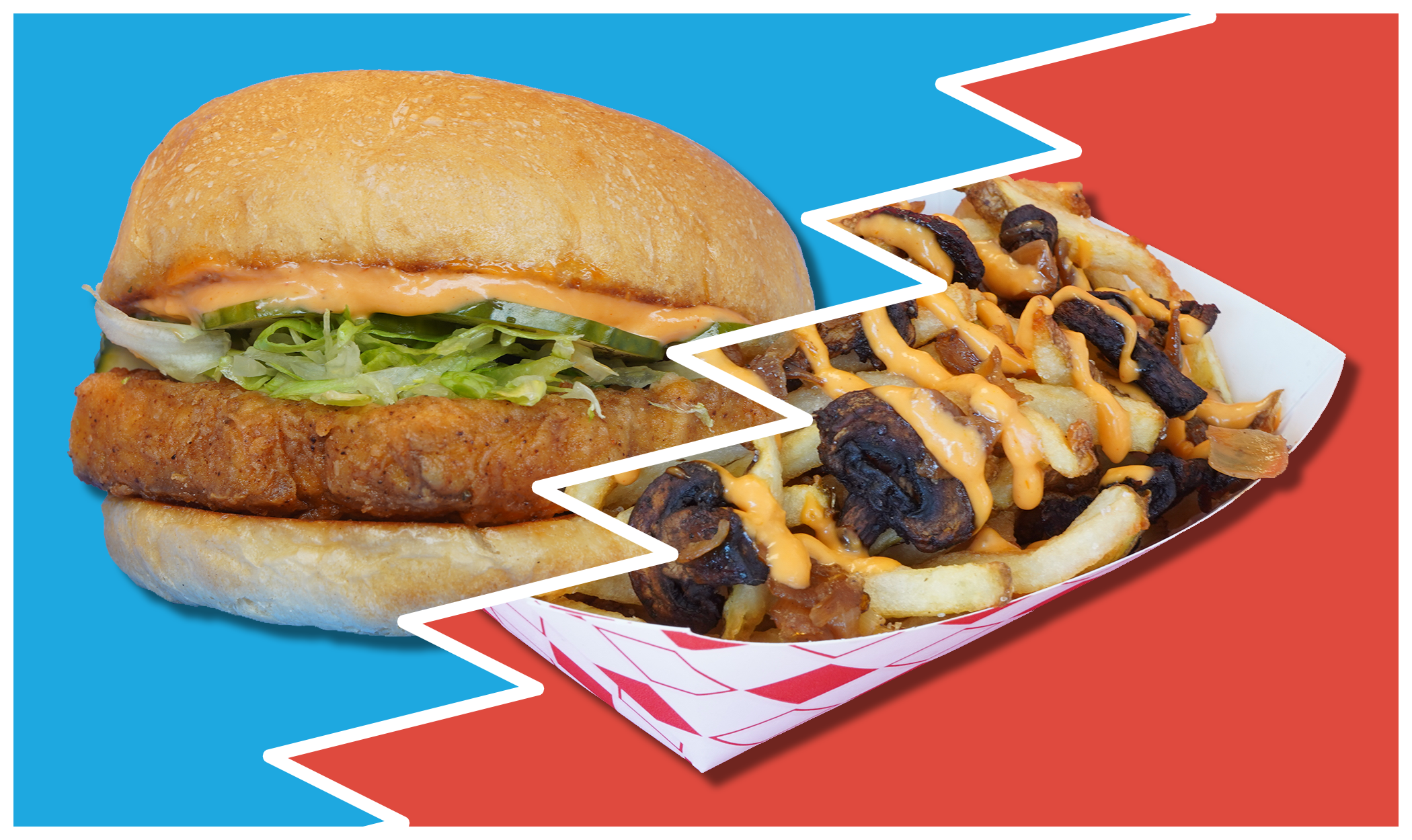 Zonk Burger banner image with Southern Fried Tofu and Loaded French Fries