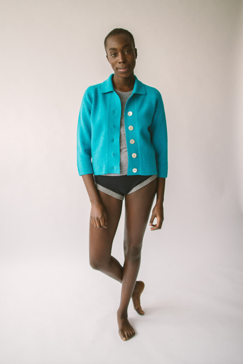 lapel cardi and cashmere knickers