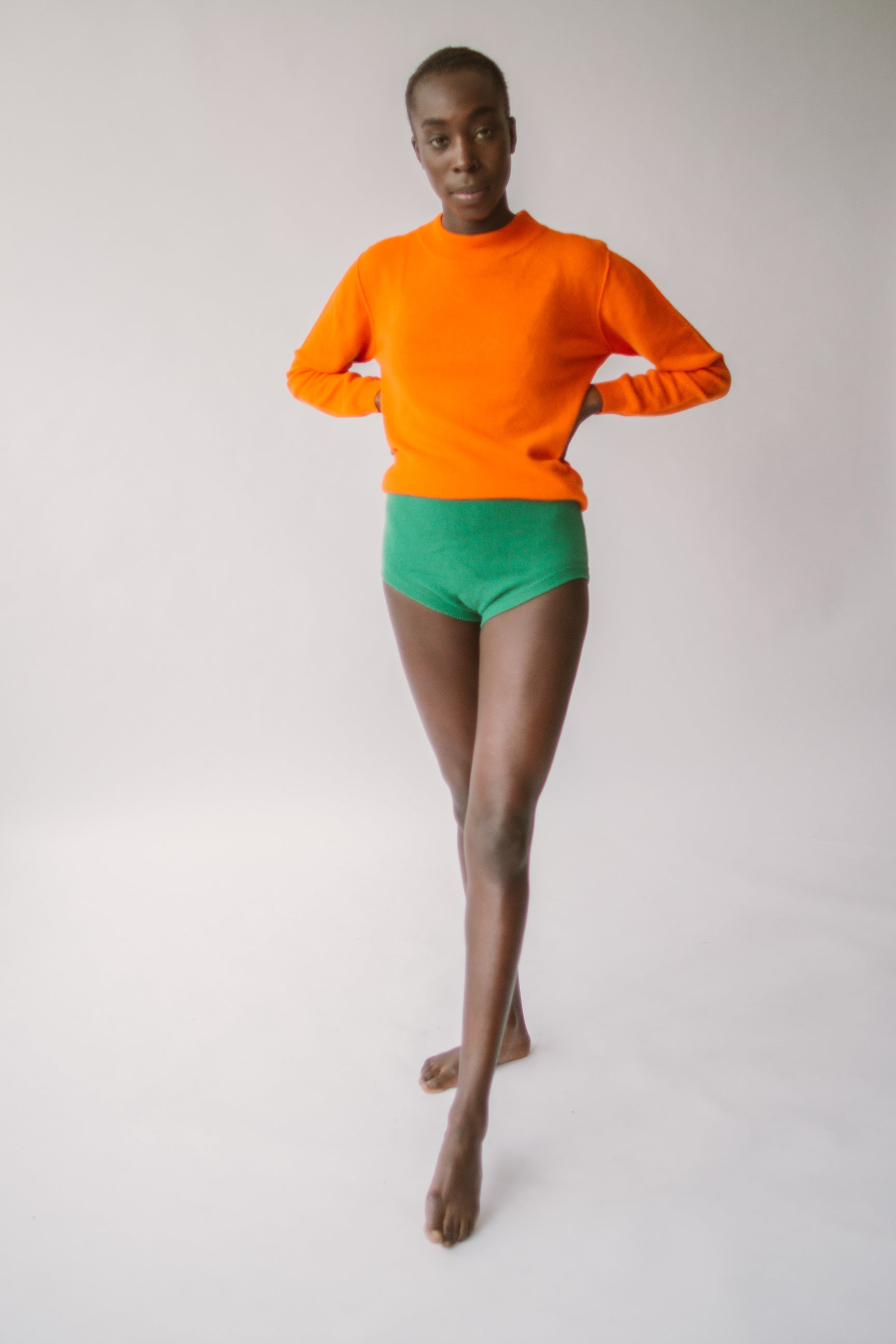 orange almost polo and green knickers