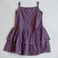 Eyelet Slip Dress in white and plum RTS