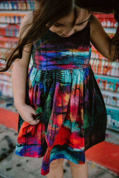 Grunged Rainbow Racerback Dress