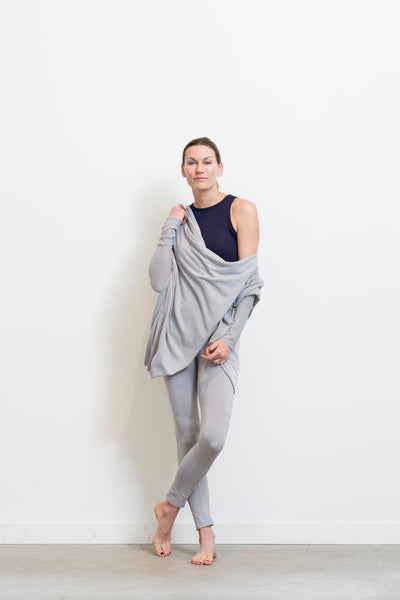 grey cocoon sweater with grey legging