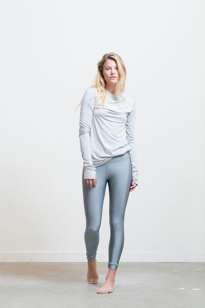 silver metallic legging