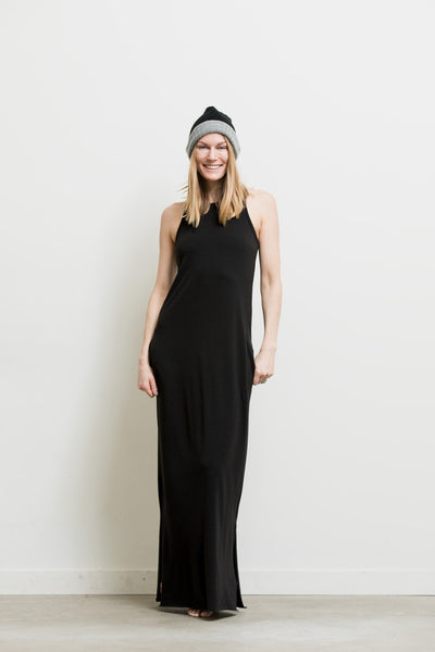 racer back maxi dress black olive
