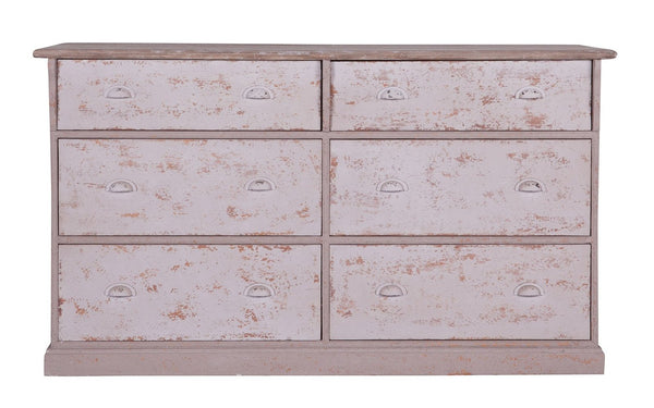 Chest Of Drawers Carlos with 6 drawers in antique finish pine