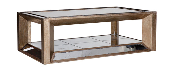 Coffee Table Mitchell rectangular Antique finish in mirrorglass