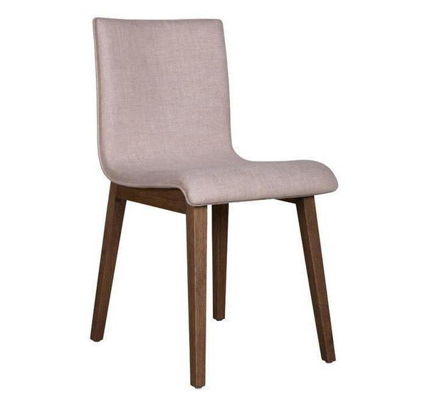 Chair Parres Sand with oak base, curved chair is upholstered in 100% linen