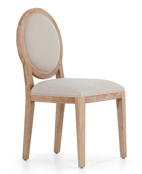 Chair Selien with oak legs and frame, seat and back in off-white natural linen