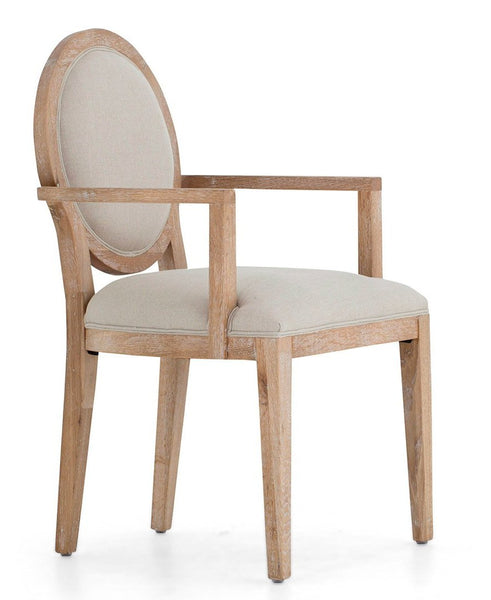 Armchair Selien Oak Natural Linen