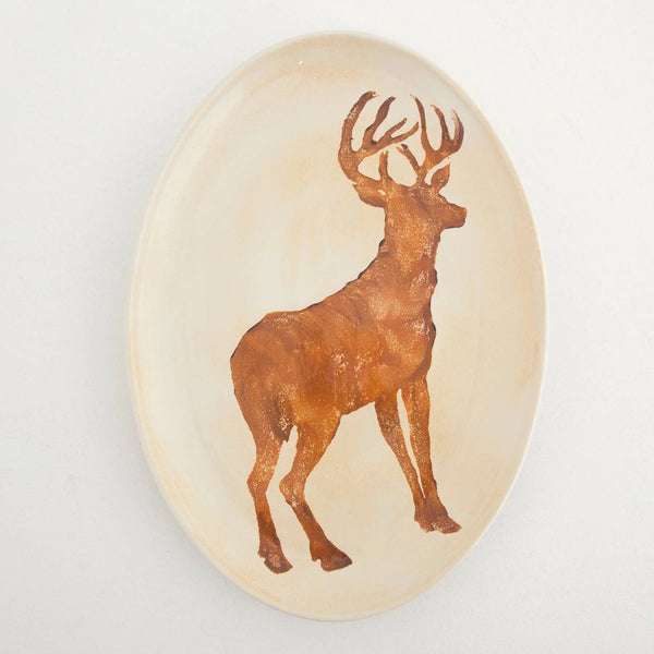 Tray Highlands Oval Deer W