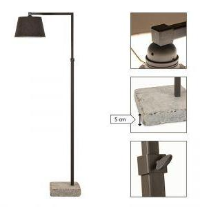 Lacio floorlamp with hardstone foot mat black no shade