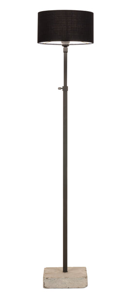 Brunetto floorlamp with hardstone foot in leadgrey