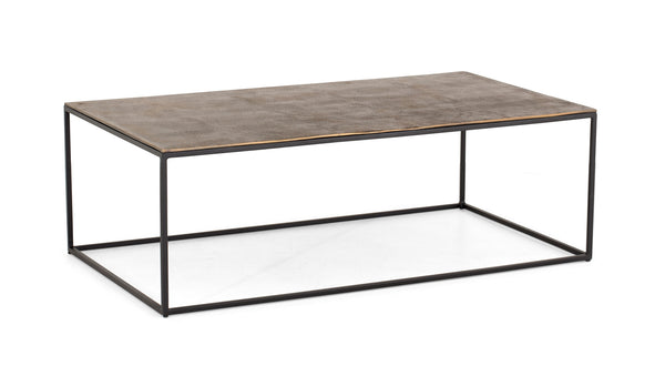 Coffee Table Stevie with iron frame in brass antique finish