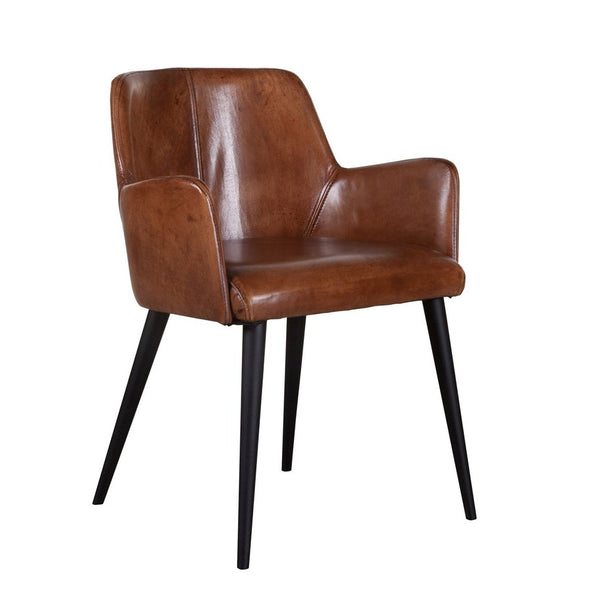 Armchair Terni Vintage with wood legs in buffalo leather