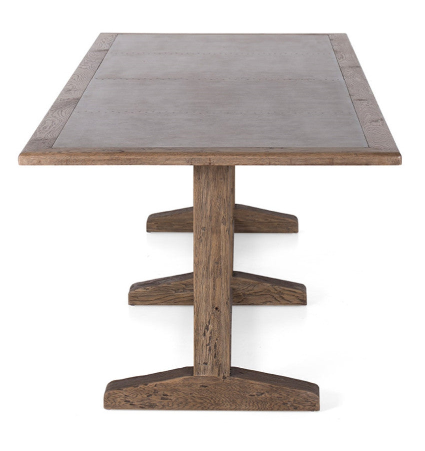 Table Sevrin in natural oak with metal and steel top