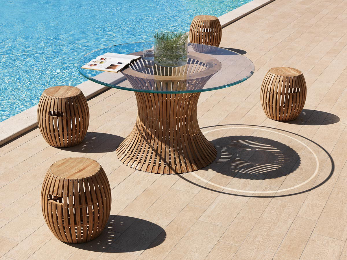 Antares teak round table Swing 130 cm with glass top