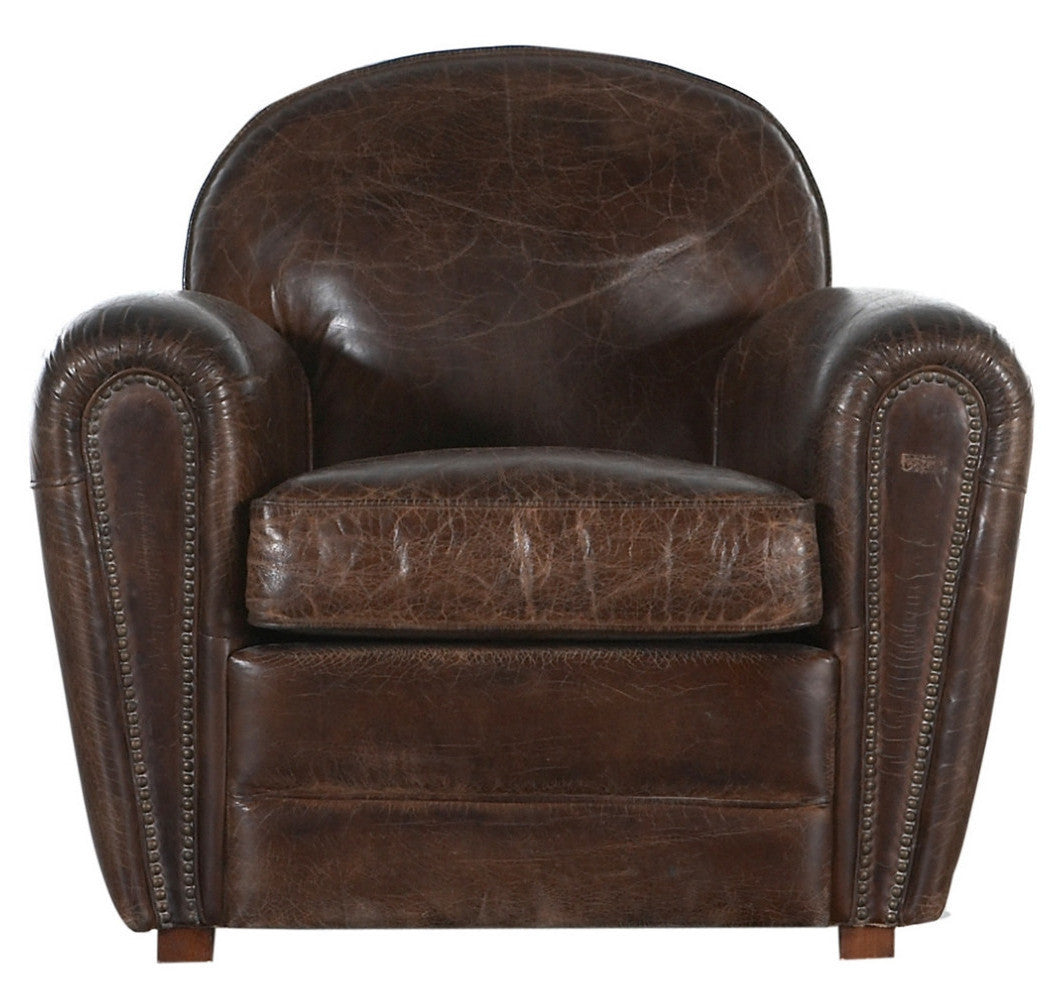 Burnham club chair dark brown leather