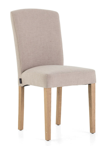 Chair Dalya with natural birch legs in off-white linen