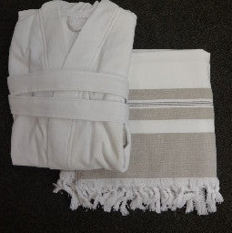 Set Hamam Towel-bathcoat Adanna White-brown