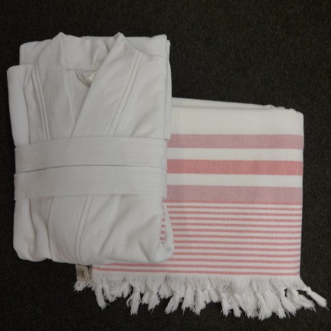 Set Hamam Towel-bathcoat Amilia White-pink