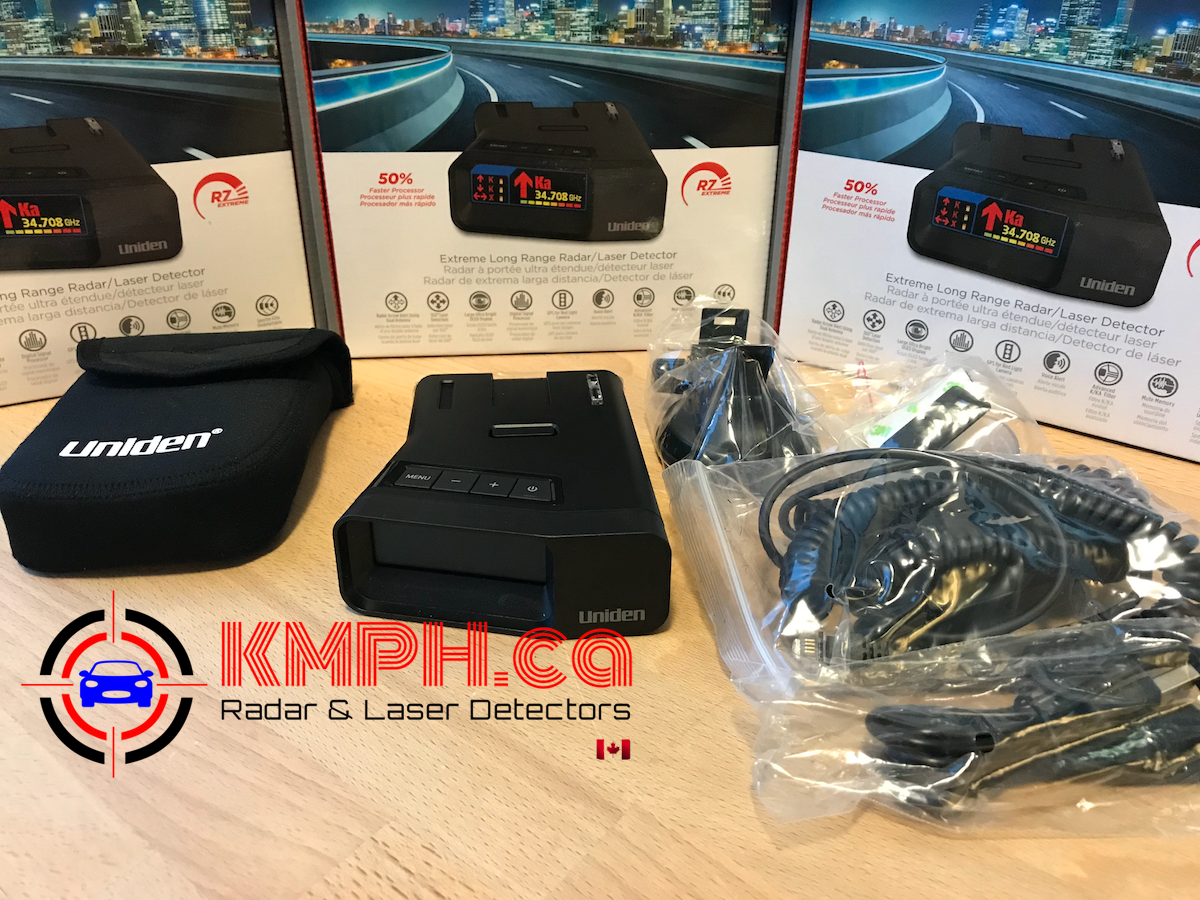 Uniden R7 radar detector unboxed with all accessories