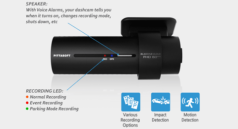 Blackvue DR750S offers parking mode, event mode, and emergency collision recording