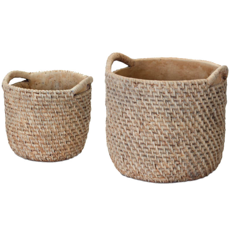 collection of various sizes of clay pots stacked on thick wooden shelves