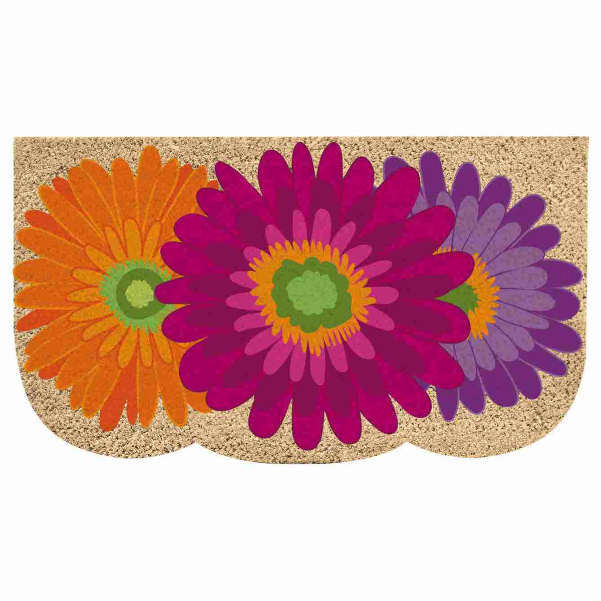 coir mat with giant gerbera daisy blooms with yellow and green centers.  Middle bloom is deep pink, underneath on the left is yelllow-orange, and underneath on the right is purple and violet.