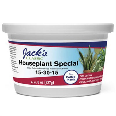 white plastic tub with Jack's houseplant food label