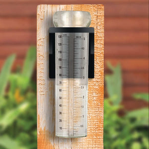 image of rain gauge mounted on a board outdoors