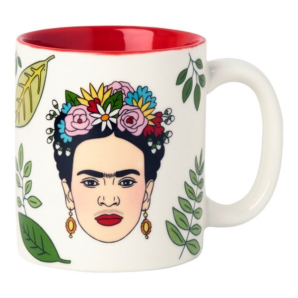 white mug with drawing of Frida Kahlo with floral crown, earrings, surrounded by leaves.  Red interior of mug