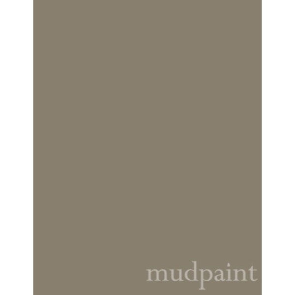 medium gray with taupe undertones paint chip with the word mudpaint in the lower right corner