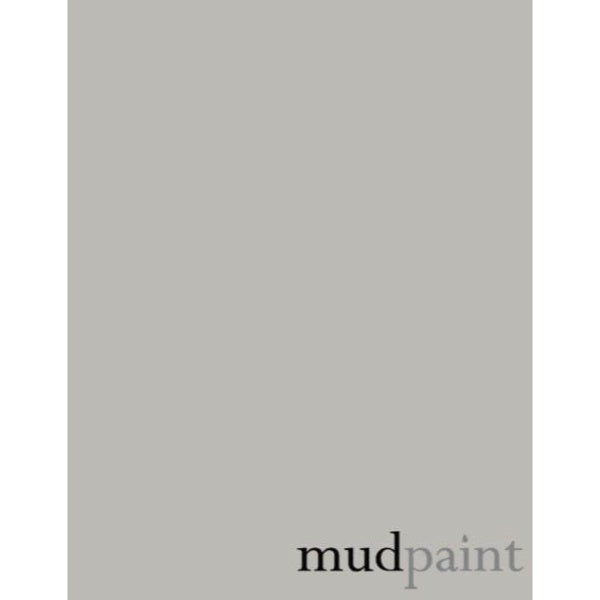 light grey paint chip with the word mudpaint in the lower right corner