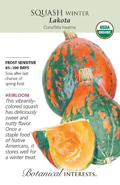 seed packet with drawing of orange and green speckled squash