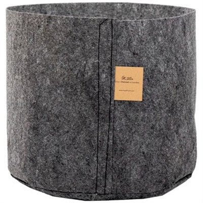 image of round canister shaped grey fabric grow pot with brown label