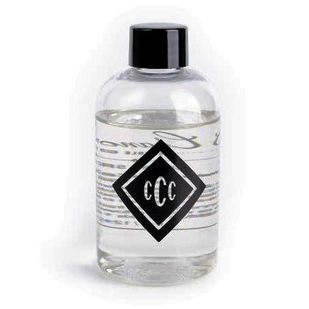 clear bottle with chandler logo, black lid and clear diffuser liquid inside