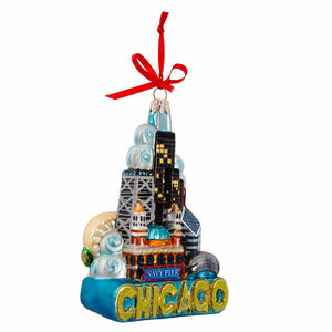 front view of ornament with Chicago landmarks