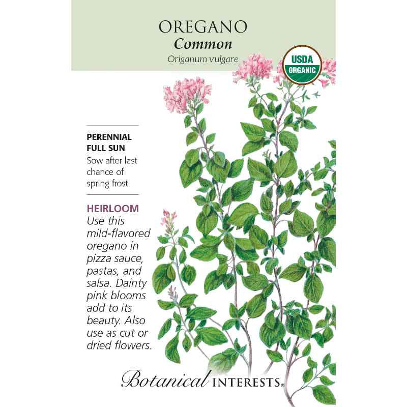 packet with drawing of oregano plant