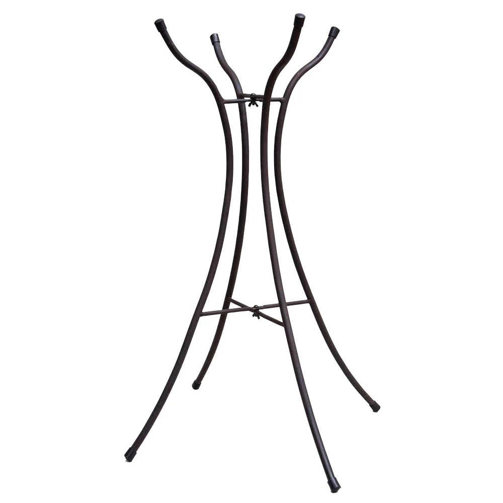black metal hourglass shaped four leg folding stand