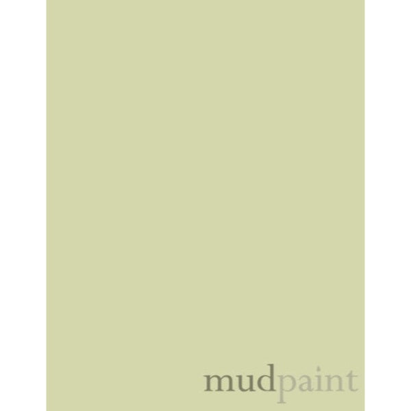 paint chip in sage color, with the word mudpaint in the bottom right corner