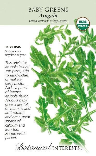 large seed pack with drawing of several arugula baby greens leaves