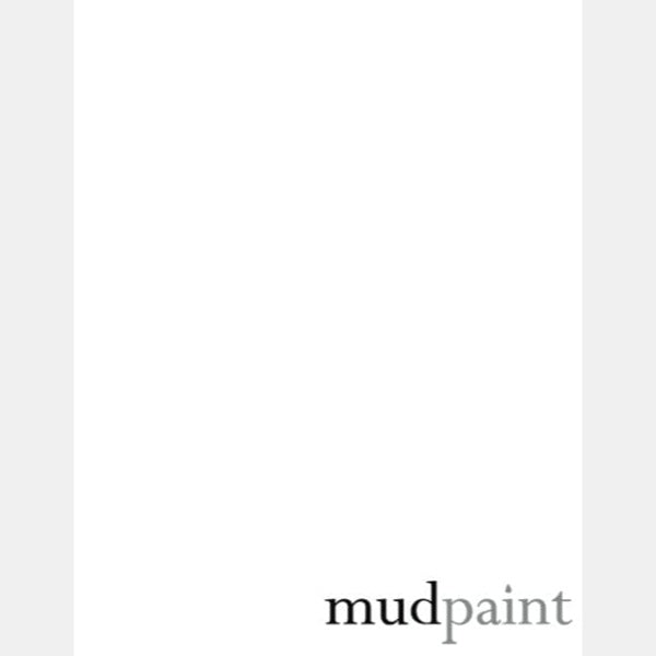 bright white paint chip on a pale grey background with the word mudpaint in the lower right corner