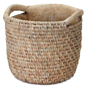 image of cement pot made to look like a woven basket with handle