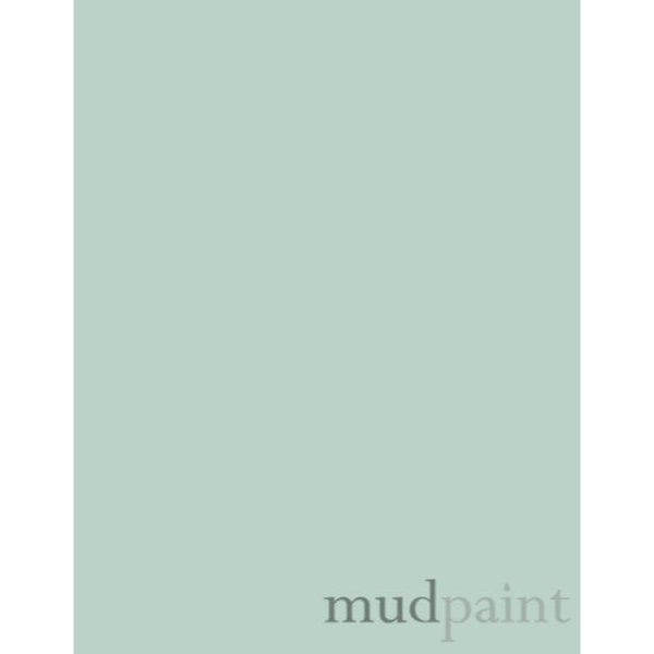 pale blue paint chip with the word mudpaint in the lower right corner