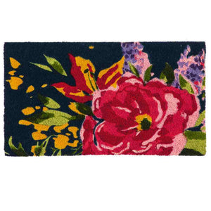 brightly colored flower drawing on deep blue background on coir mat