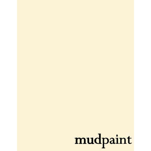 color swatch of China White paint, with Mudpaint written on bottom right corner